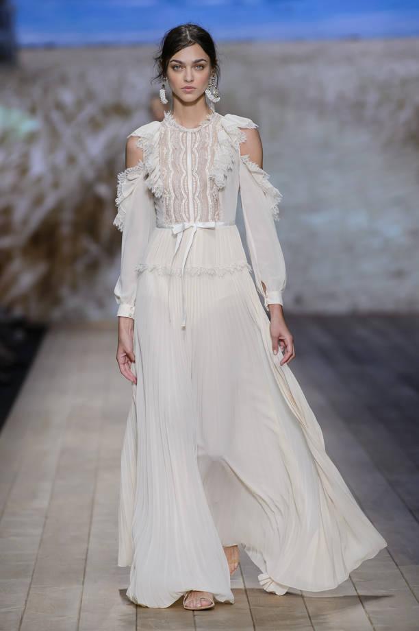 classcic alta qualità raccolto abito-con-gonna-fluttuante-bianca-elisabetta-franchi ...